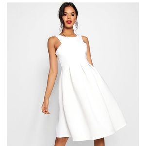 White dress,  Neckline Midi Dress.